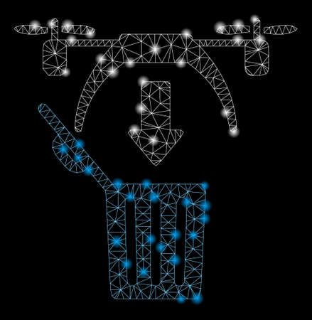 Glossy mesh trash drone with glitter effect. Abstract illuminated model of trash drone icon. Shiny wire carcass polygonal mesh trash drone. Vector abstraction on a black background.