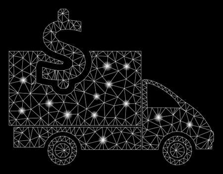 Flare mesh transportation costs with glare effect. Abstract illuminated model of transportation costs icon. Shiny wire frame polygonal mesh transportation costs.