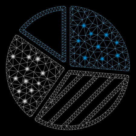 Glossy mesh pie chart with sparkle effect. Abstract illuminated model of pie chart icon. Shiny wire frame polygonal mesh pie chart. Vector abstraction on a black background. 向量圖像