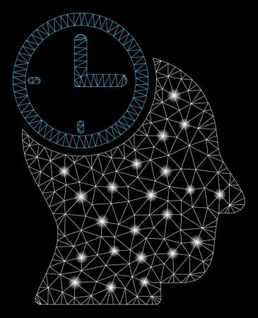 Bright mesh time thinking head with lightspot effect. Abstract illuminated model of time thinking head icon. Shiny wire frame triangular network time thinking head. Illustration