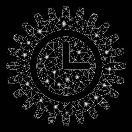 Glossy mesh time options with lightspot effect. Abstract illuminated model of time options icon. Shiny wire carcass polygonal mesh time options. Vector abstraction on a black background.  イラスト・ベクター素材