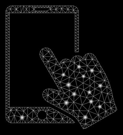 Glossy mesh touch smartphone with lightspot effect. Abstract illuminated model of touch smartphone icon. Shiny wire frame polygonal mesh touch smartphone. Vector abstraction on a black background.