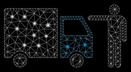 Flare mesh truck customer with glitter effect. Abstract illuminated model of truck customer icon. Shiny wire frame triangular mesh truck customer. Vector abstraction on a black background.