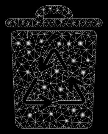 Glossy mesh trash can with sparkle effect. Abstract illuminated model of trash can icon. Shiny wire frame polygonal mesh trash can. Vector abstraction on a black background. Illusztráció
