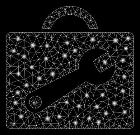 Flare mesh tool case with glow effect. Abstract illuminated model of tool case icon. Shiny wire carcass triangular network tool case. Vector abstraction on a black background.