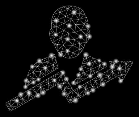Flare mesh user trend with glare effect. Abstract illuminated model of user trend icon. Shiny wire frame triangular mesh user trend. Vector abstraction on a black background. Иллюстрация