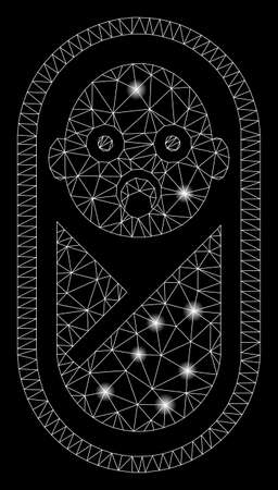Glowing mesh newborn with lightspot effect. Abstract illuminated model of newborn icon. Shiny wire carcass triangular mesh newborn. Vector abstraction on a black background.