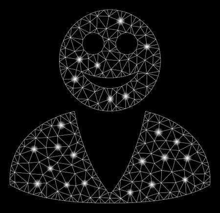 Glowing mesh smiled user with sparkle effect. Abstract illuminated model of smiled user icon. Shiny wire carcass polygonal mesh smiled user. Vector abstraction on a black background. Illustration