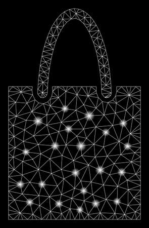 Flare mesh shopping bag with glitter effect. Abstract illuminated model of shopping bag icon. Shiny wire carcass polygonal mesh shopping bag. Vector abstraction on a black background. Illustration