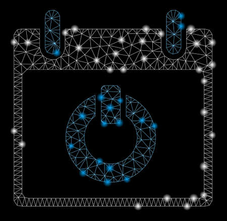 Flare mesh turn on calendar day with glitter effect. Abstract illuminated model of turn on calendar day icon. Shiny wire carcass triangular mesh turn on calendar day.