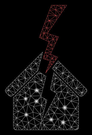 Glossy mesh house break with lightspot effect. Abstract illuminated model of house break icon. Shiny wire frame polygonal network house break. Vector abstraction on a black background. Illustration