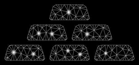 Bright mesh treasure bricks with glare effect. Abstract illuminated model of treasure bricks icon. Shiny wire frame triangular mesh treasure bricks. Vector abstraction on a black background. 向量圖像