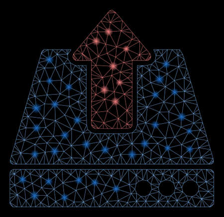 Glowing mesh upload with glitter effect. Abstract illuminated model of upload icon. Shiny wire frame triangular network upload. Vector abstraction on a black background.