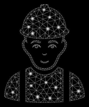 Glowing mesh worker with sparkle effect. Abstract illuminated model of worker icon. Shiny wire frame polygonal network worker. Vector abstraction on a black background. Иллюстрация
