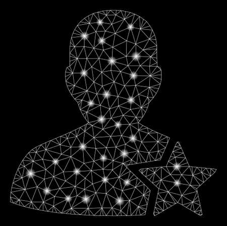 Glossy mesh user rating star with lightspot effect. Abstract illuminated model of user rating star icon. Shiny wire carcass triangular mesh user rating star. Vector abstraction on a black background.