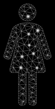 Flare mesh woman with lightspot effect. Abstract illuminated model of woman icon. Shiny wire frame triangular mesh woman. Vector abstraction on a black background.
