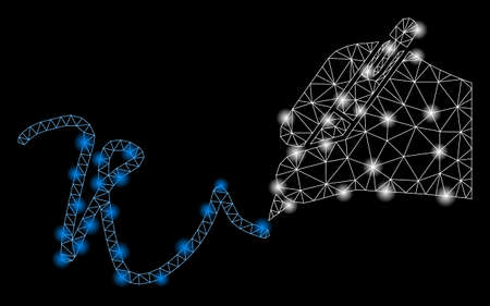 Bright mesh hand signature with glare effect. Abstract illuminated model of hand signature icon. Shiny wire carcass polygonal network hand signature. Vector abstraction on a black background. 向量圖像