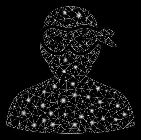 Flare mesh masked thief with glare effect. Abstract illuminated model of masked thief icon. Shiny wire frame polygonal mesh masked thief. Vector abstraction on a black background.