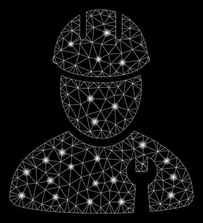 Glossy mesh repairman with glitter effect. Abstract illuminated model of repairman icon. Shiny wire carcass polygonal mesh repairman. Vector abstraction on a black background.