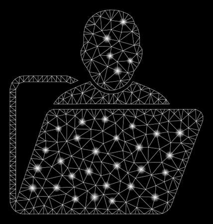 Glowing mesh user folder with sparkle effect. Abstract illuminated model of user folder icon. Shiny wire carcass polygonal mesh user folder. Vector abstraction on a black background.