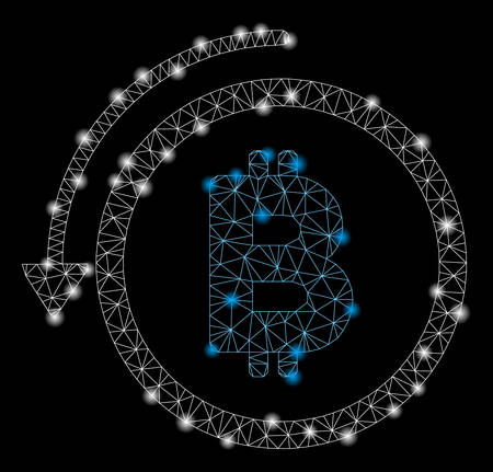 Flare mesh undo Bitcoin payment with lightspot effect. Abstract illuminated model of undo Bitcoin payment icon. Shiny wire frame polygonal mesh undo Bitcoin payment.