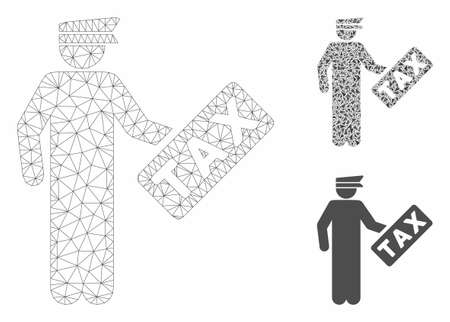 Mesh tax officer model with triangle mosaic icon. Wire frame polygonal mesh of tax officer. Vector mosaic of triangle parts in different sizes, and color tinges. Abstract 2d mesh tax officer,