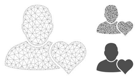 Mesh user favourites heart model with triangle mosaic icon. Wire frame triangular mesh of user favourites heart. Vector collage of triangle elements in different sizes, and color shades. 向量圖像