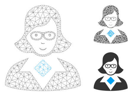 Mesh teacher lady model with triangle mosaic icon. Wire frame triangular mesh of teacher lady. Vector mosaic of triangle parts in various sizes, and color tones. Abstract 2d mesh teacher lady, 向量圖像