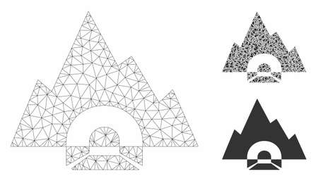 Mesh mountain tunnel model with triangle mosaic icon. Wire frame triangular mesh of mountain tunnel. Vector composition of triangle parts in different sizes, and color shades.