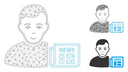 Mesh user news model with triangle mosaic icon. Wire carcass polygonal mesh of user news. Vector mosaic of triangle elements in various sizes, and color tints. Abstract 2d mesh user news,