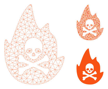 Mesh hellfire model with triangle mosaic icon. Wire frame triangular mesh of hellfire. Vector mosaic of triangle elements in various sizes, and color tones. Abstract flat mesh hellfire,