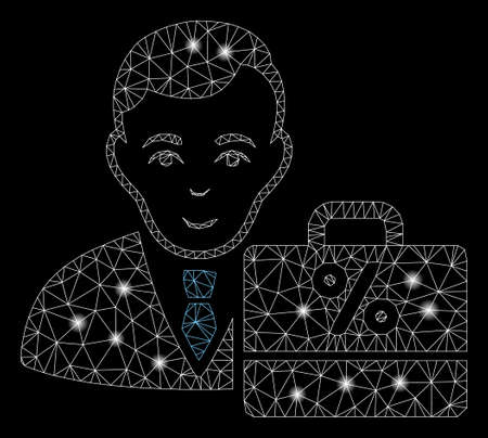Bright mesh tax accounter with glitter effect. Abstract illuminated model of tax accounter icon. Shiny wire carcass polygonal mesh tax accounter. Vector abstraction on a black background. Stock Illustratie