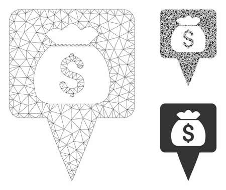 Mesh treasure map pointer model with triangle mosaic icon. Wire carcass triangular mesh of treasure map pointer. Vector mosaic of triangles in variable sizes, and color shades.