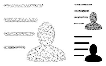 Mesh user list model with triangle mosaic icon. Wire frame triangular network of user list. Vector mosaic of triangle elements in different sizes, and color shades. Abstract flat mesh user list,