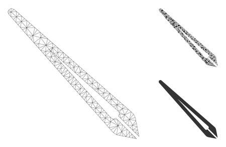Mesh tweezers model with triangle mosaic icon. Wire frame triangular mesh of tweezers. Vector composition of triangles in different sizes, and color tints. Abstract flat mesh tweezers,