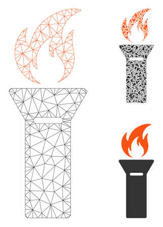 Mesh torch flame model with triangle mosaic icon. Wire frame polygonal mesh of torch flame. Vector collage of triangles in various sizes, and color tints. Abstract 2d mesh torch flame,