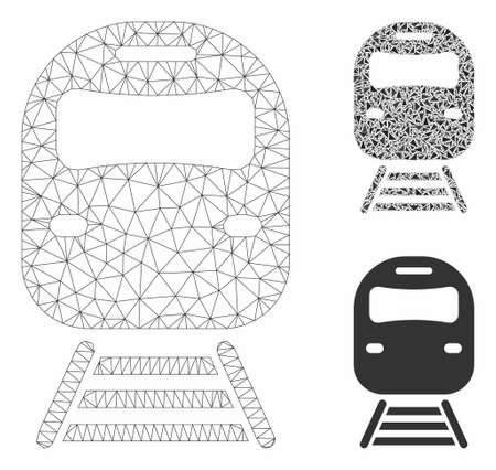 Mesh train model with triangle mosaic icon. Wire frame triangular mesh of train. Vector collage of triangle parts in variable sizes, and color tints. Abstract 2d mesh train,