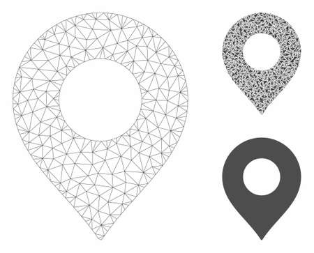 Mesh map marker model with triangle mosaic icon. Wire frame triangular mesh of map marker. Vector mosaic of triangle elements in variable sizes, and color tints. Abstract 2d mesh map marker, Иллюстрация