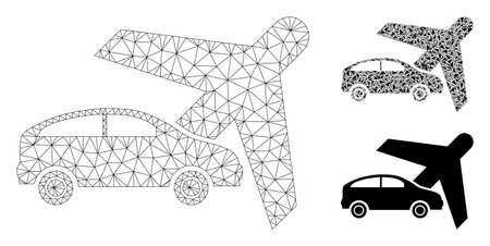 Mesh transport model with triangle mosaic icon. Wire frame triangular mesh of transport. Vector composition of triangle elements in variable sizes, and color shades. Abstract 2d mesh transport,