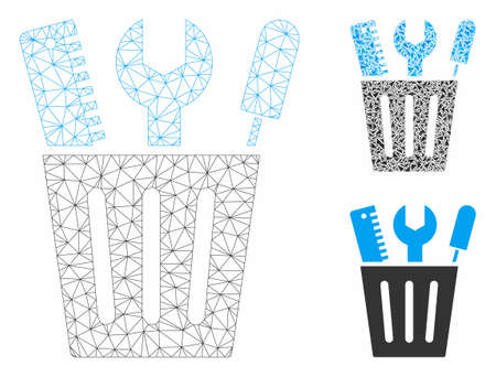 Mesh tools bucket model with triangle mosaic icon. Wire carcass polygonal mesh of tools bucket. Vector composition of triangle parts in various sizes, and color hues. Abstract 2d mesh tools bucket,