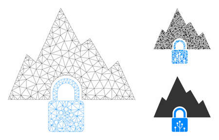 Mesh VPN tunnel model with triangle mosaic icon. Wire carcass polygonal mesh of VPN tunnel. Vector mosaic of triangle parts in different sizes, and color tinges. Abstract 2d mesh VPN tunnel, Illusztráció