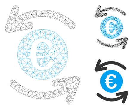 Mesh update Euro balance model with triangle mosaic icon. Wire carcass polygonal mesh of update Euro balance. Vector mosaic of triangles in various sizes, and color tinges.