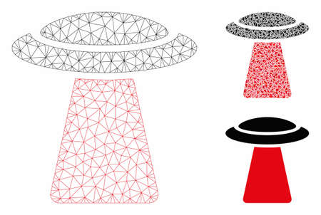 Mesh UFO ray model with triangle mosaic icon. Wire carcass triangular mesh of UFO ray. Vector mosaic of triangles in various sizes, and color hues. Abstract flat mesh UFO ray, Çizim