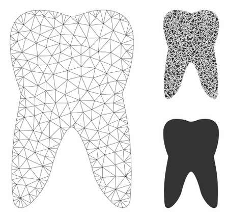 Mesh tooth model with triangle mosaic icon. Wire frame triangular mesh of tooth. Vector mosaic of triangle parts in various sizes, and color hues. Abstract flat mesh tooth, 向量圖像