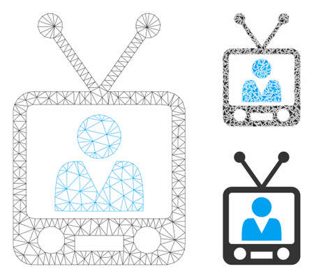 Mesh television model with triangle mosaic icon. Wire frame polygonal mesh of television. Vector composition of triangle parts in variable sizes, and color shades. Abstract flat mesh television,