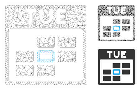Mesh Tuesday calendar grid model with triangle mosaic icon. Wire frame triangular mesh of Tuesday calendar grid. Vector mosaic of triangle parts in different sizes, and color hues.