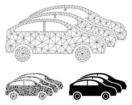 Mesh car traffic model with triangle mosaic icon. Wire carcass triangular mesh of car traffic. Vector mosaic of triangle parts in different sizes, and color tones. Abstract flat mesh car traffic,