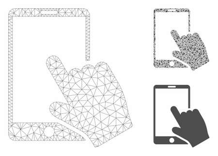 Mesh touch smartphone model with triangle mosaic icon. Wire frame polygonal mesh of touch smartphone. Vector mosaic of triangle parts in various sizes, and color tones.