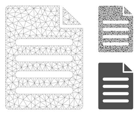 Mesh text page model with triangle mosaic icon. Wire carcass triangular mesh of text page. Vector mosaic of triangle parts in various sizes, and color tinges. Abstract 2d mesh text page, 向量圖像
