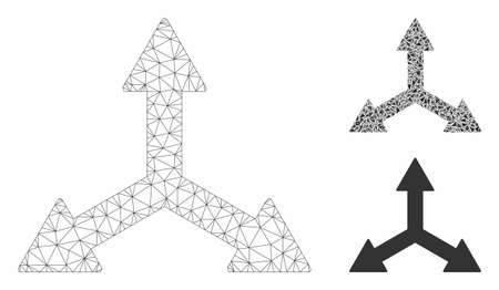 Mesh triple arrows model with triangle mosaic icon. Wire frame triangular mesh of triple arrows. Vector mosaic of triangle elements in various sizes, and color tones. Abstract flat mesh triple arrows, Çizim